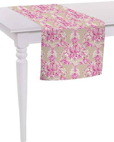 Béžovo-růžový běhoun na stůl Mike & Co. NEW YORK Butterflies,140x40cm