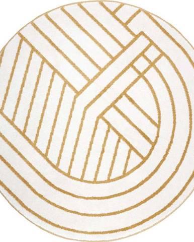 Bílo-žlutý koberec Nattiot Luisa,ø110cm