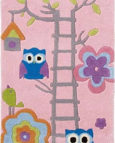Růžový dětský ručně tuftovaný koberec Think Rugs Hong Kong Kiddo Pinkie, 70x140cm