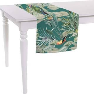 Zelený běhoun na stůl Mike & Co. NEW YORK Jungle Birds,140x40cm