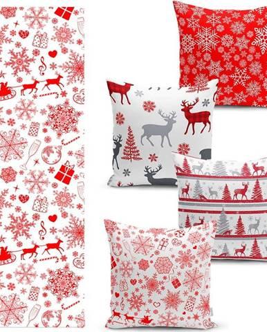Sada 4 vánočních povlaků na polštář a běhounu na stůl Minimalist Cushion Covers Red Snowflake