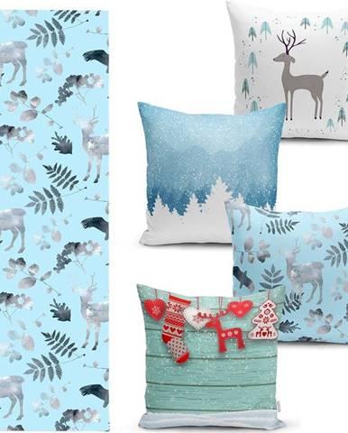 Sada 4 vánočních povlaků na polštář a běhounu na stůl Minimalist Cushion Covers Winter Wonderland