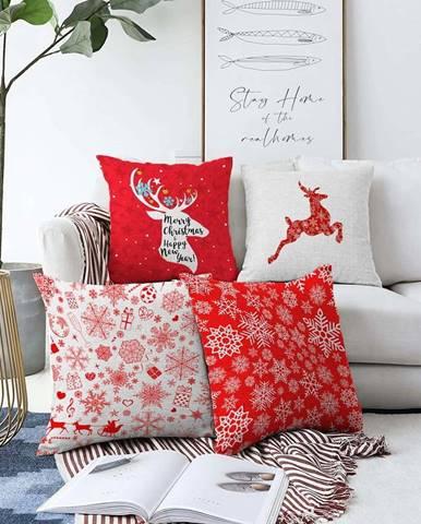 Sada 4 vánočních žinylkových povlaků na polštář Minimalist Cushion Covers Christmas Reindeer,55x55cm