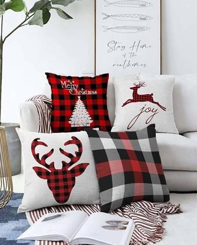 Sada 4 vánočních žinylkových povlaků na polštář Minimalist Cushion Covers Christmas Tartan,55x55cm