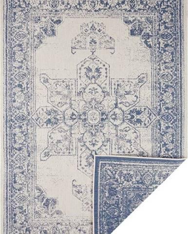 Modro-krémový venkovní koberec Bougari Borbon, 80 x 150 cm