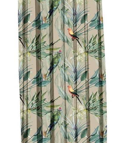 Béžový závěs Mike & Co. NEW YORK Jungle Birds,140x270cm