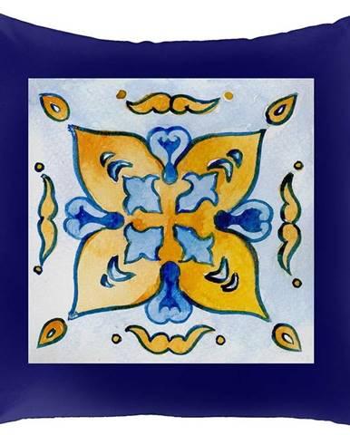 Modrý povlak na polštář Mike & Co. NEW YORK Lemons,45x45cm