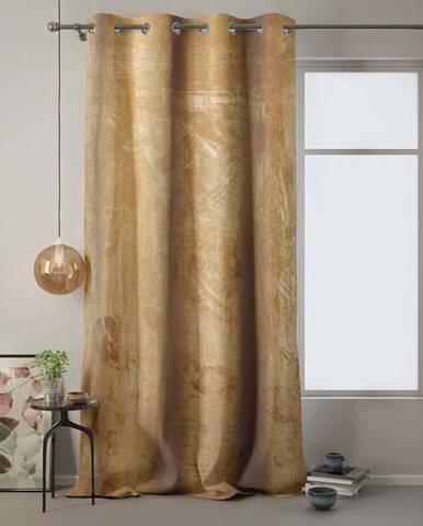 Hořčicově žlutý závěs AmeliaHome Velvet, 140 x 270 cm