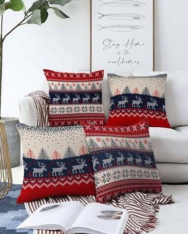 Sada 4 vánočních žinylkových povlaků na polštář Minimalist Cushion Covers Blue Nordic,55x55cm