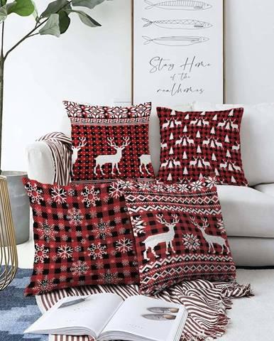 Sada 4 vánočních žinylkových povlaků na polštář Minimalist Cushion Covers Tartan,55x55cm