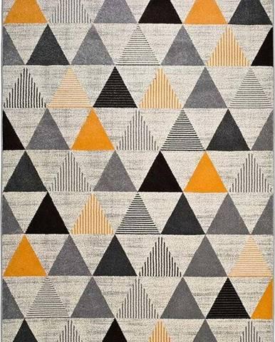 Šedo-oranžový koberec Universal Leo Triangles, 160 x 230 cm