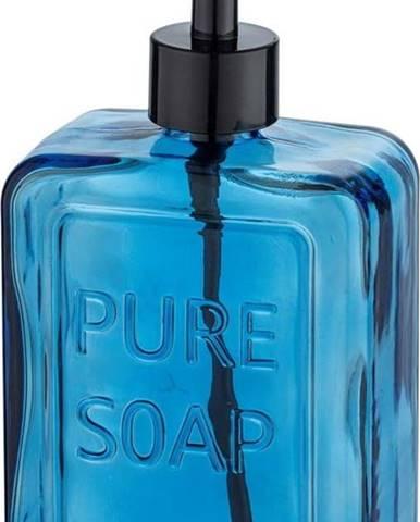 Modrý skleněný dávkovač na mýdlo Wenko Pure Soap