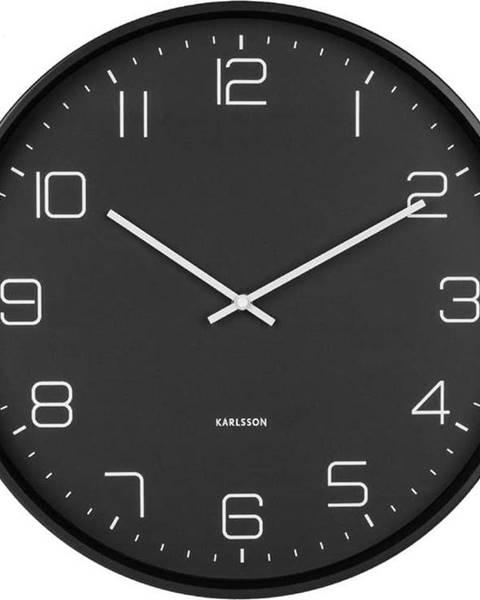 Karlsson Černé nástěnné hodiny Karlsson Lofty,ø40cm