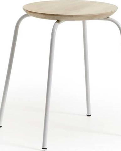 Bílá kovová stolička se sedákem z mangového dřeva La Forma Nax