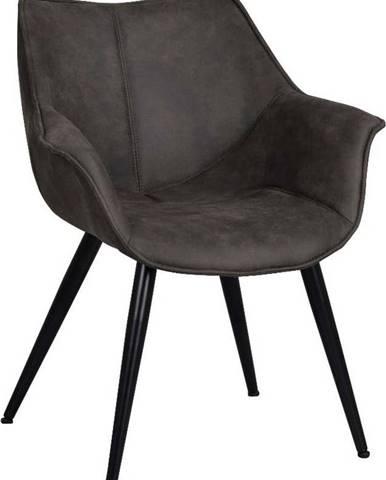 Černá židle s černým kovovým podnožím Rowico Echo