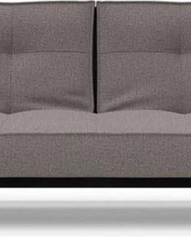 Hnědo-šedá rozkládací pohovka s područkami Innovation Splitback Chrome