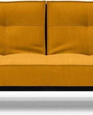 Oranžová rozkládací pohovka s područkami Innovation Splitback Chrome