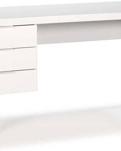 Bílý psací stůl s nohami z borovicového dřeva Marckeric Frank
