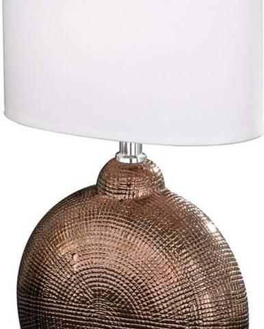 Bílo-hnědá stolní lampa Fischer & Honsel Foro,výška36cm