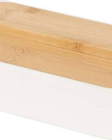 Bílý úložný box s bambusovým víkem Compactor Ecologic,15,4x8,3cm