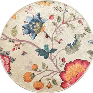 Květinová koupelnová předložka Chilai Circle Vintage, ø 100 cm