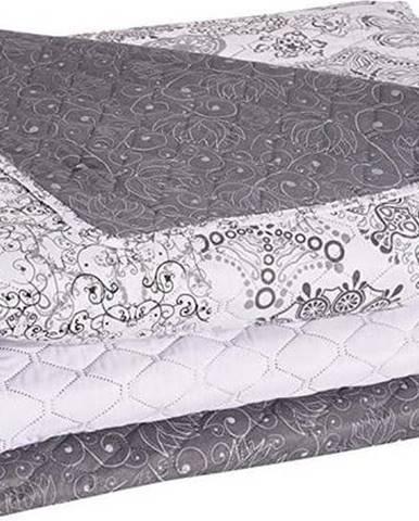 Bílo-šedý oboustranný přehoz z mikrovlákna DecoKing Alhambra, 200x220cm