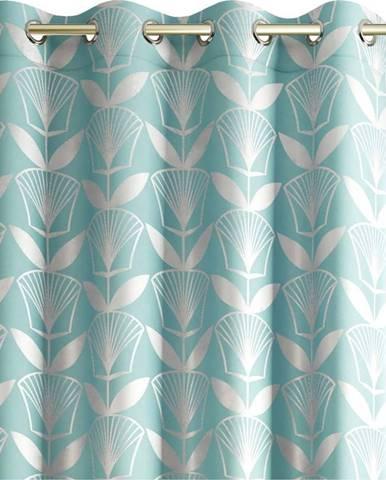 Tyrkysově modrý závěs AmeliaHome Floris,140x250cm