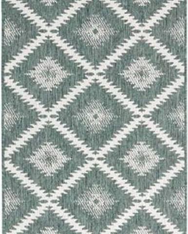 Zeleno-krémový venkovní koberec Bougari Malibu, 250 x 80 cm
