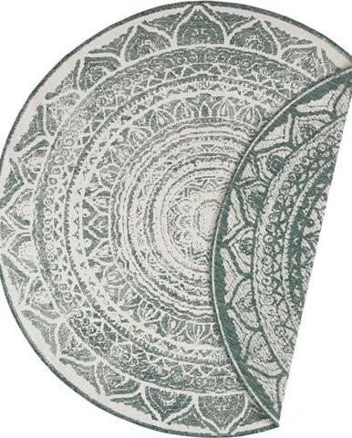 Zeleno-krémový venkovní koberec Bougari Siruma, ø 140 cm