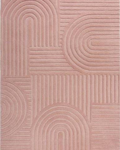 Růžový vlněný koberec Flair Rugs Zen Garden, 120 x 170 cm