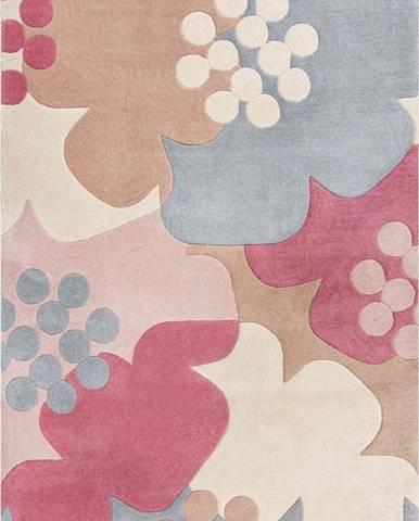 Šedo-růžový koberec Flair Rugs Retro Floral, 120 x 170 cm
