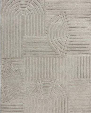 Šedý vlněný koberec Flair Rugs Zen Garden, 120 x 170 cm