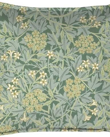 Zelený dekorativní polštář Velvet Atelier Liberty Flower, 45 x 45 cm