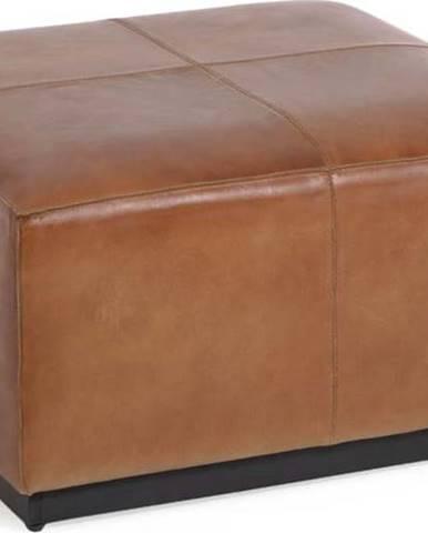 Koňakově hnědá kožená podnožka La Forma Cesia