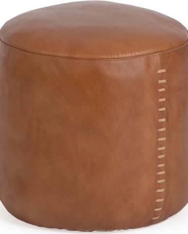 Koňakově hnědý kožený puf La Forma Cesia