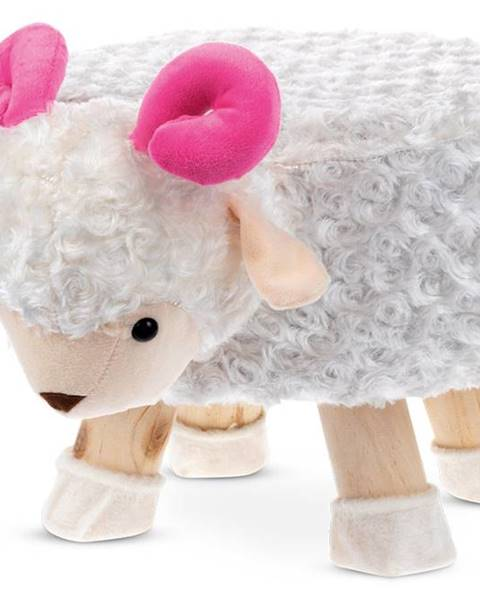 Smartshop Taburet - ovce, bílá látka, dřevěné nohy LA2002