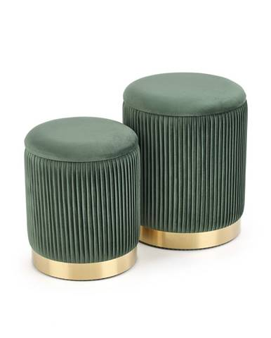 Set dvou taburetů MONTY, tmavě zelená
