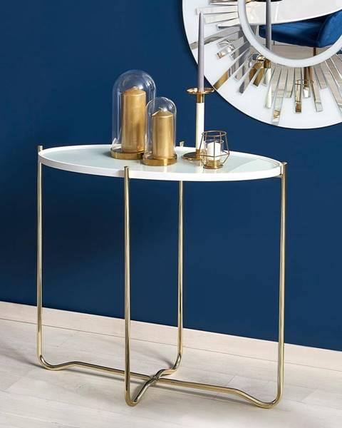 Smartshop Odkládací stolek KN-2, bílá/zlatá