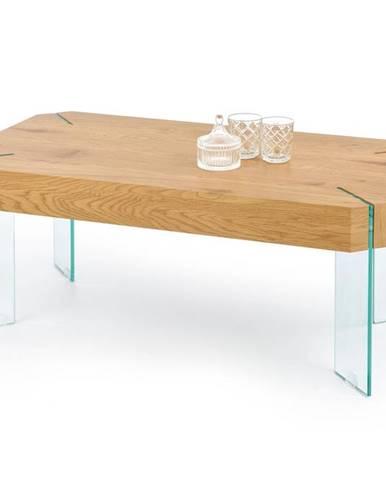 Konferenční stolek CAPELA, dub zlatý/čiré sklo