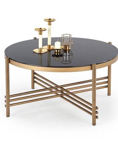 Kulatý konferenční stolek ISMENA, černá/zlatá
