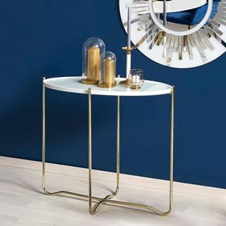Odkládací stolek KN-2, bílá/zlatá
