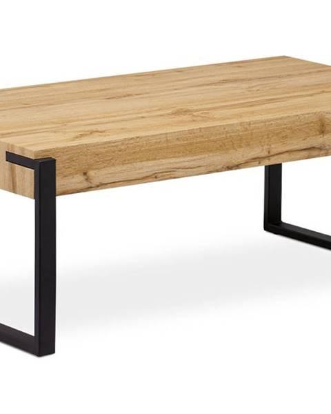 Smartshop Konferenční stolek 110x60x43, deska MDF dekor divoký dub tloušťka 100mm, kov černý mat AHG-250 OAK