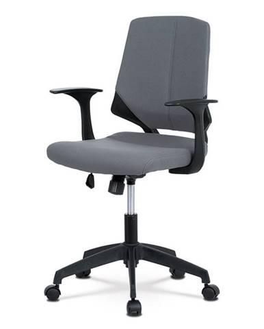 Kancelářská židle, šedá látka, černé PP područky KA-R204 GREY