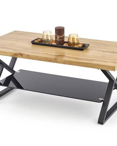 Konferenční stolek XENA PROSTOKĄT, dub přírodní/černá