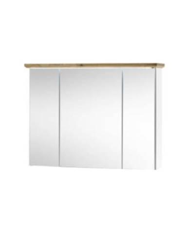 Skříňka se zrcadlem, bílá/dub artisan, TOSKANA