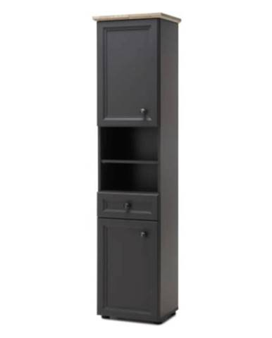 Vysoká skříňka, tmavě šedá/dub, TOSKANA
