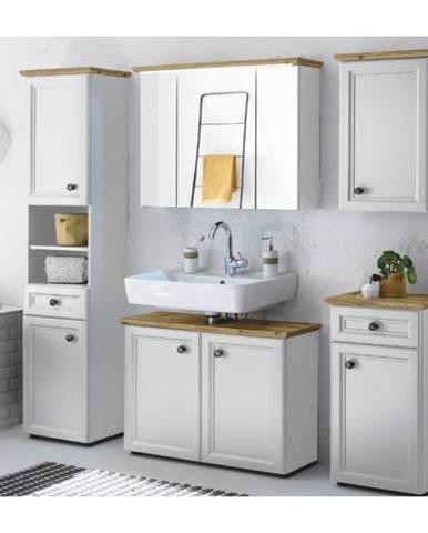 Sektorová koupelnová sestava TOSKANA, bílá/dub artisan