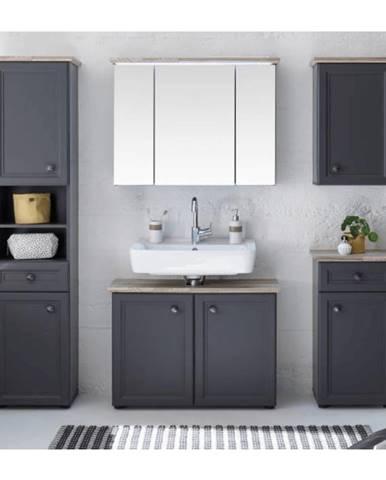 Sektorová koupelnová sestava TOSKANA, tmavě šedá/dub