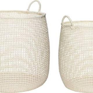 Sada 2 bílých úložných košíků Hübsch Julesso