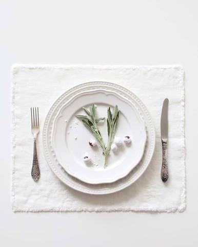 Bílé lněné prostírání Linen Tales Classic,40x35cm